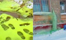zielony śnieg Rosja