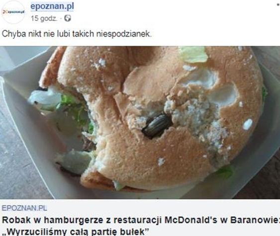 mcdonalds baranów polska robak afera jedzenie