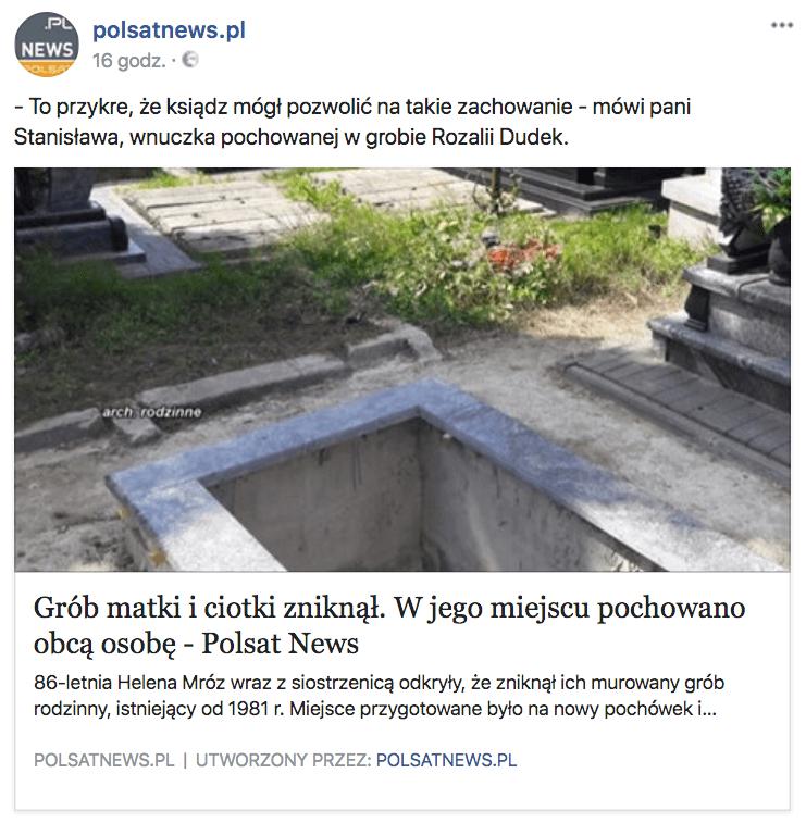 Polsat News post grób w Łęcznej