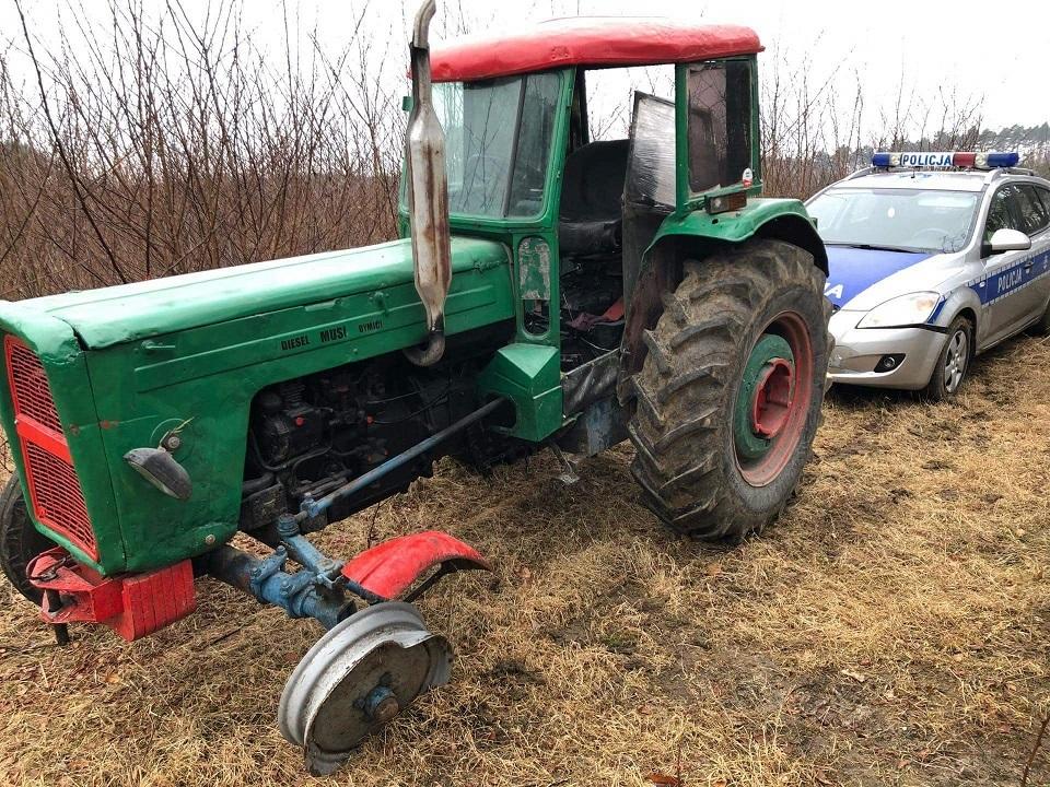 traktor zatrzymany przez policję