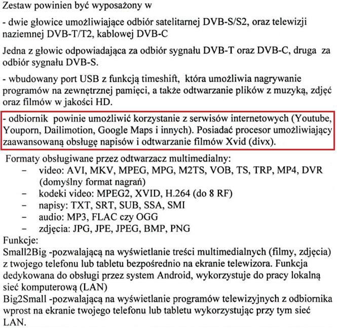 Wymogi dotyczące zamawianego zestawu do odbioru DVB-S/52+DVBT/T2/C.