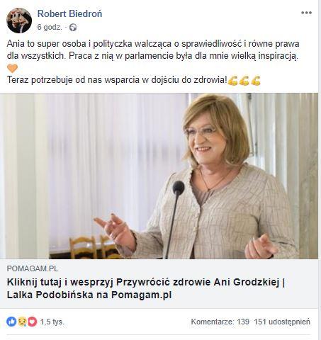 robert Biedroń Facebook Anna Grodzka