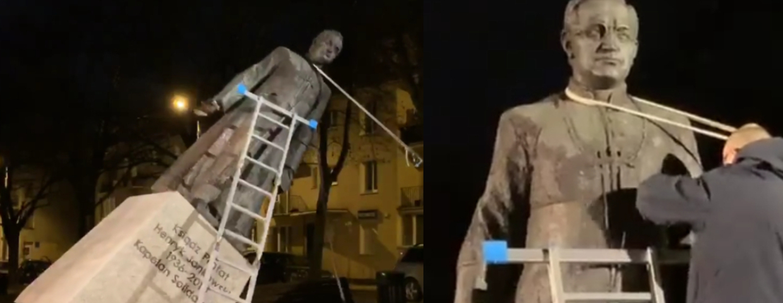 gdańssk obalili pomnik księdza jankowskiego