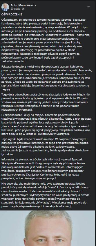Artur Mazurkiewicz przyznaje się do wypadku