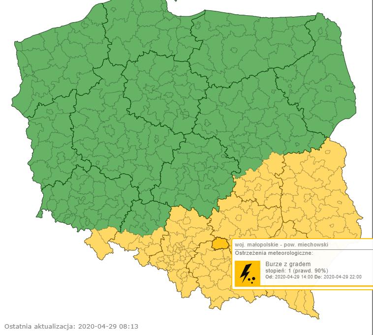 Burze z gradem w Polsce - alerty IMGW