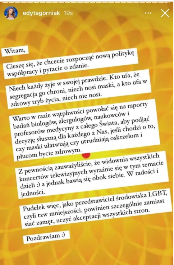 Edyta Górniak walczy z nakazem noszenia maseczek. Wciąż nie wierzy w pandemię?