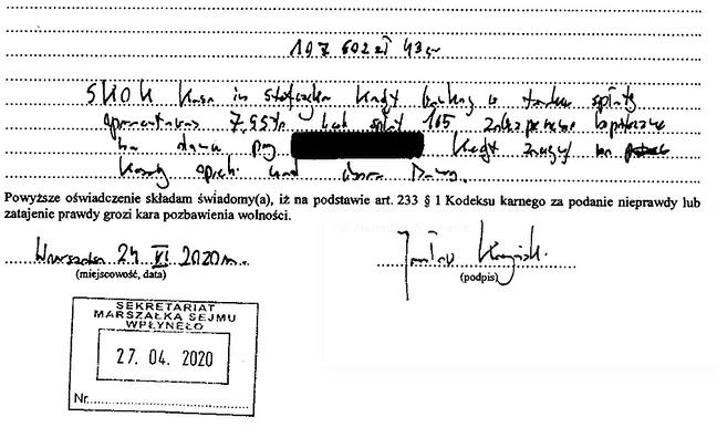 Fragment oświadczenia majątkowego Kaczyńskiego