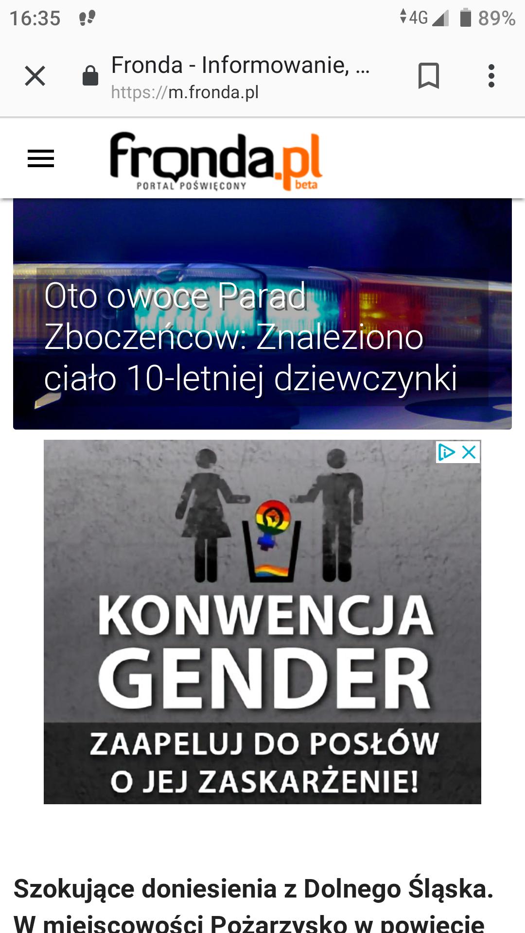 Fronda oskarża LGBT o śmierc 10-latki