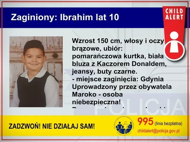 Ibrahim poszukiwany - child alert