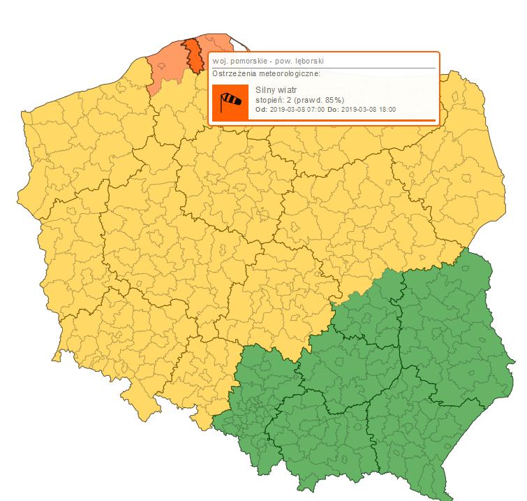Polska - ostrzeżenia IMGW