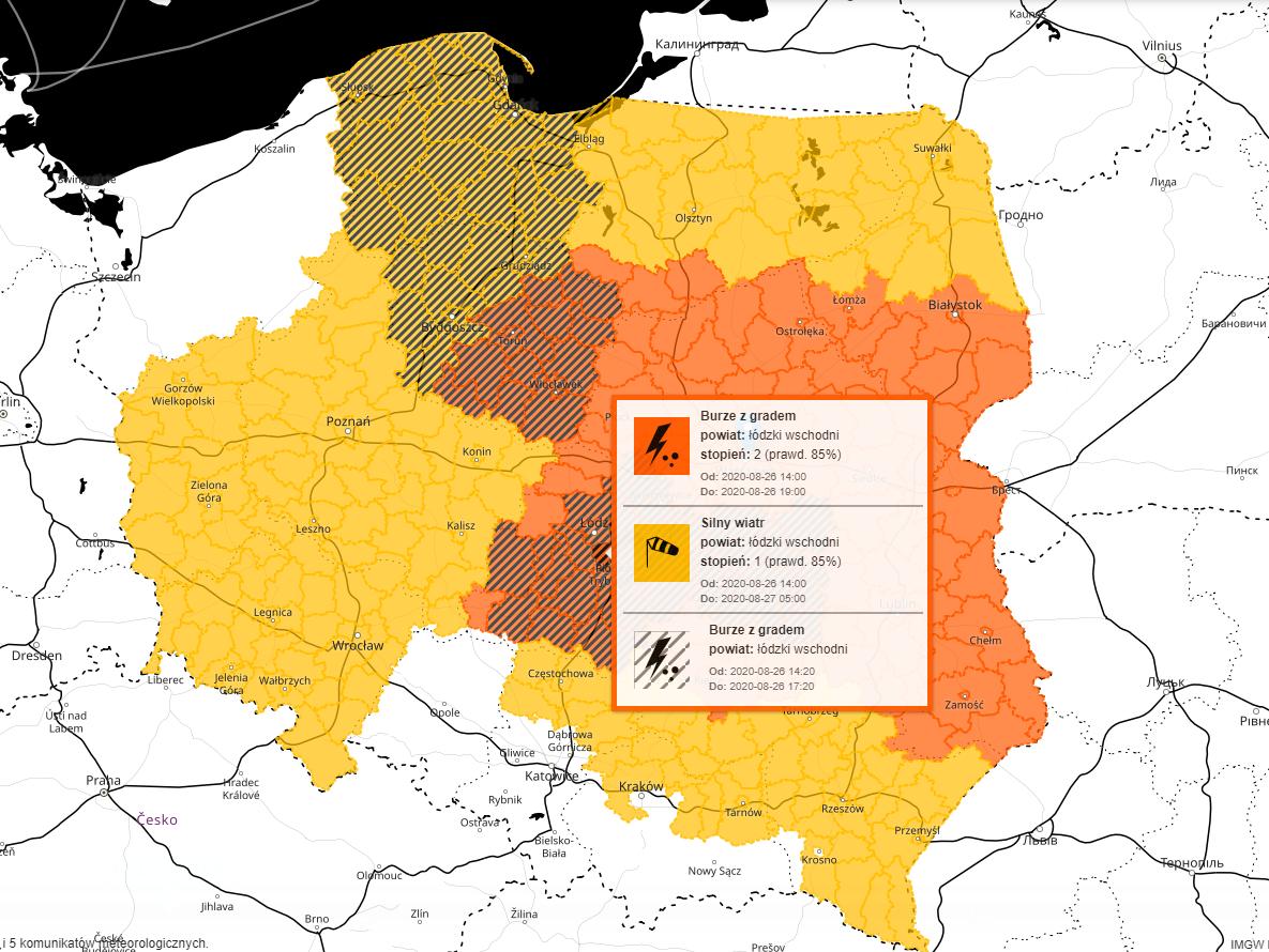 IMGW  ostrzega - burze i trąby powietrzne w Polsce