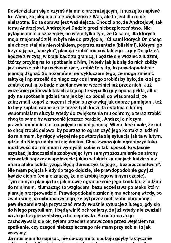 Jolka Rosiek ostrzega przed zamachem na prezydenta