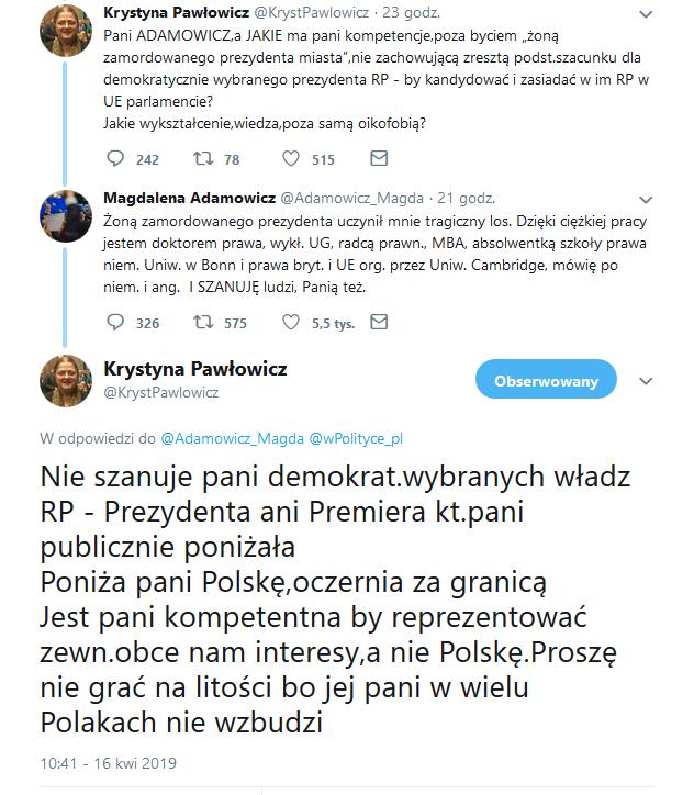 Krystyna Pawłowicz vs. Magdalena Adamowicz