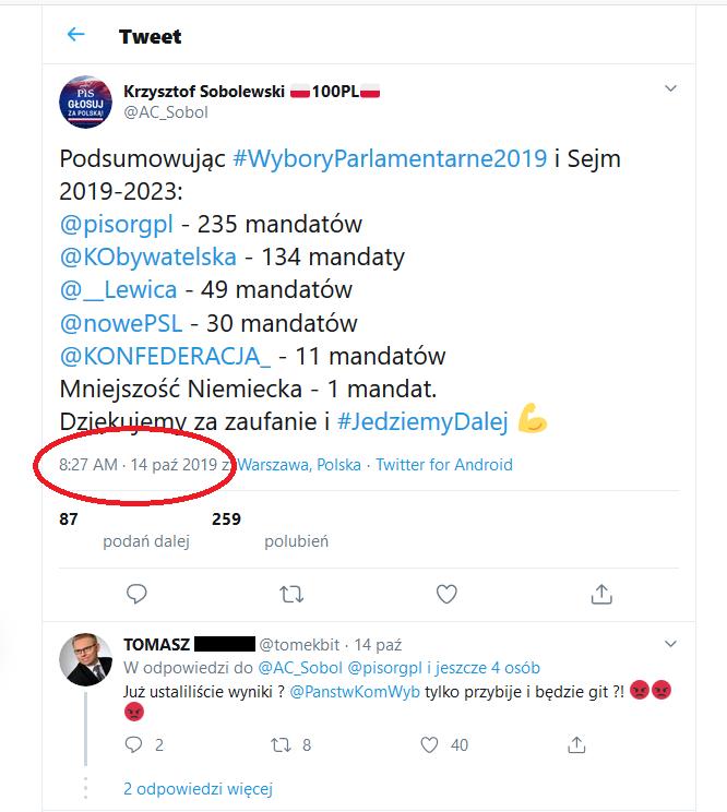 Krzysztof Sobolewski podał wynik wyborów