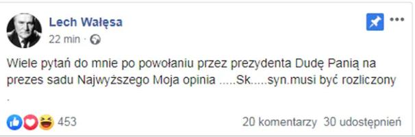 Lech Wałęsa i wypowiedź w mediach społecznościowych