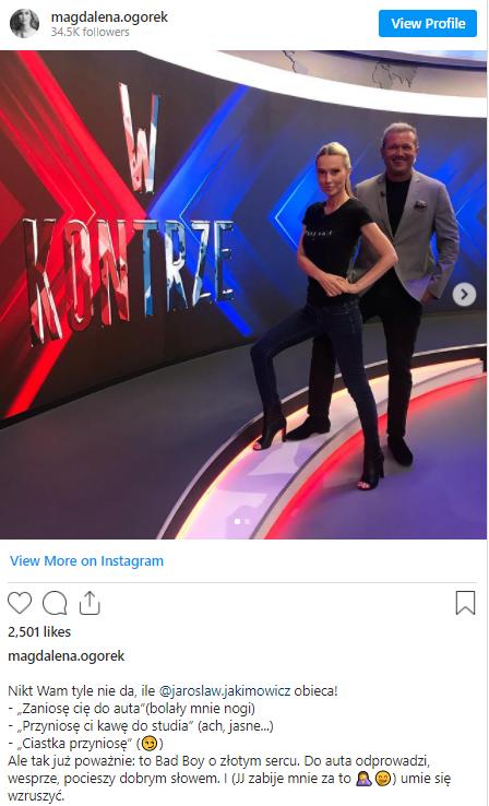 Ogórek na instagramie z czułością o Jakimowiczu. Czy między nimi iskrzy?