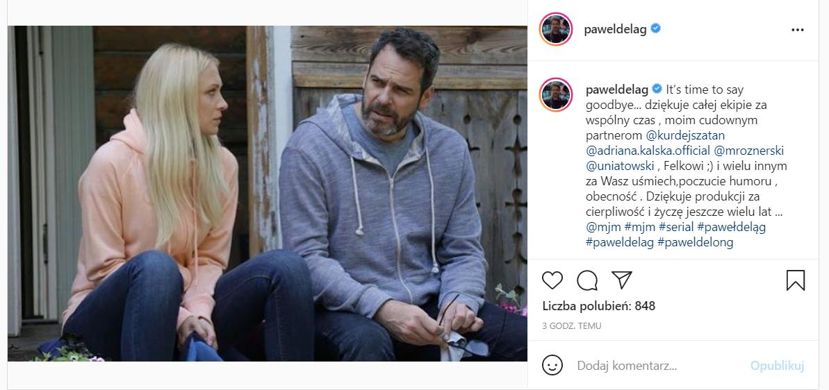 """Paweł Deląg odchodzi z """"M jak miłość"""". Serial TVP straci oglądalność?"""