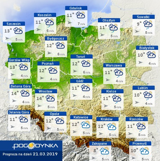Prognoza pogody na czwartek - jesienny pierwszy dzień wiosny