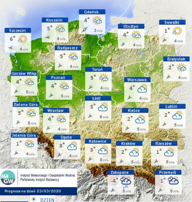 Pogoda w poniedziałek