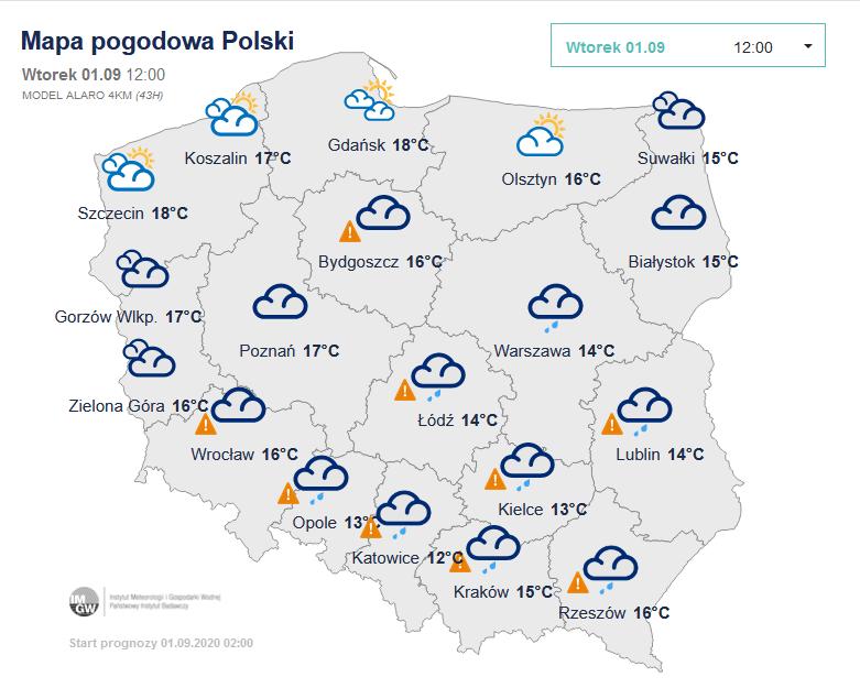Pogoda we wtorek