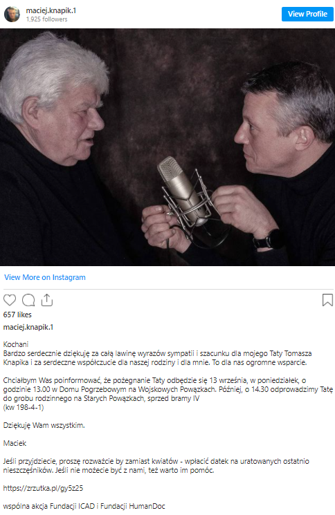 Pogrzeb i pożegnanie Tomasza Knapika. Syn nie chce kwiatów