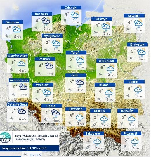 Prognoza pogody we wtorek - mapa meteo