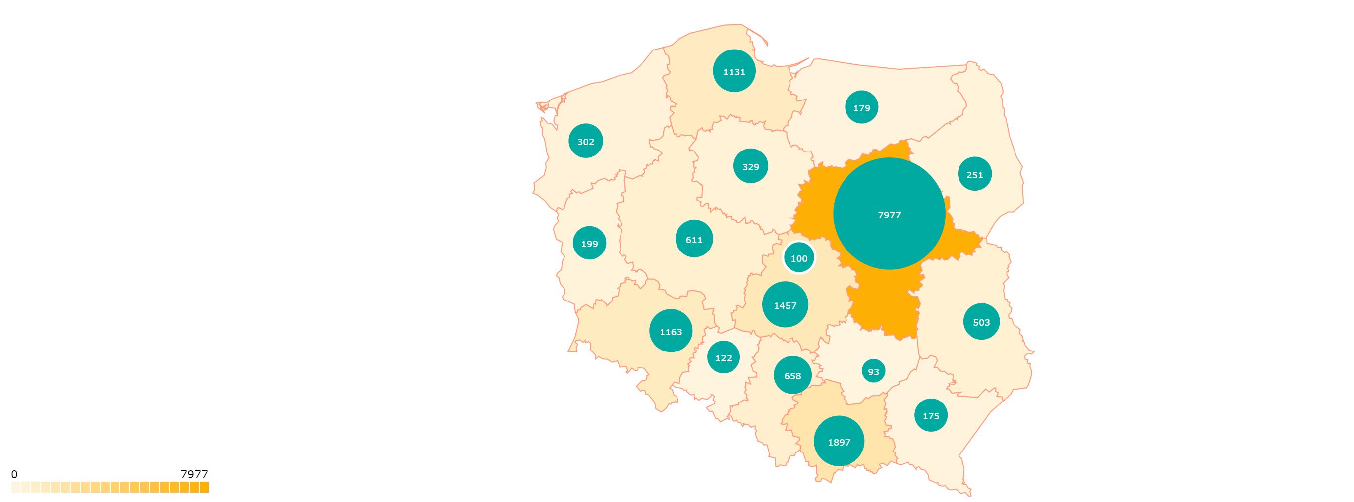 Rozkład liczby imigrantów w poszczególnych województwach
