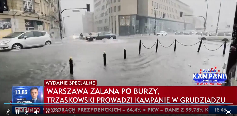 Ulewa w Warszawie. TVP atakuje Trzaskowskiego