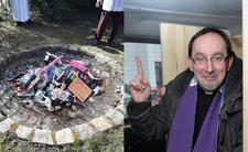Ksiądz spalił książki na stosie