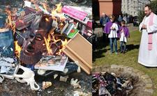 Ksiądz spalił książki na stosie. Sprawa w prokuraturze