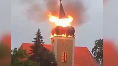 Pożar kościoła we wsi Frednowy - uderzenie pioruna i zawalenie się iglicy