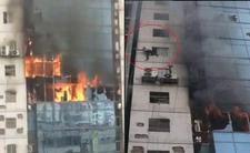 Pożar biurowca. Ludzie skaczą z okien