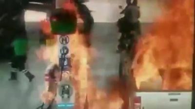 Pożar na stacji benzynowej i wideo z kamery monitoringu