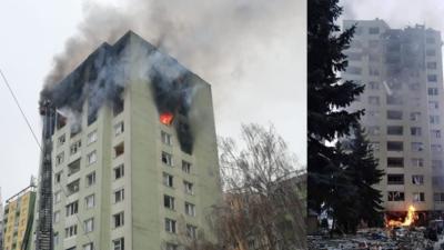 Wybuch w 12-piętrowym bloku. Ludzie są uwięzieni, płonie kilka pięter