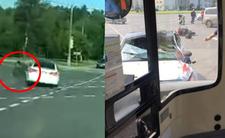 Rosja i drastyczny wypadek - krew na masce i motocyklista po zderzeniu
